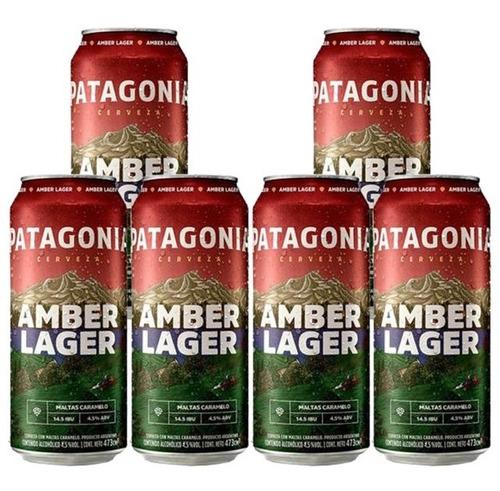 Cerveza Lata Patagonia Amber 473cc Pack X6u