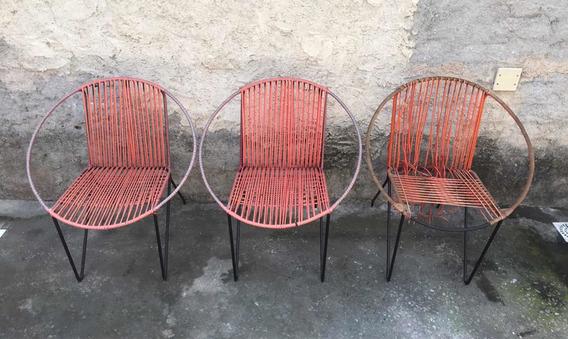 3 Diferentes Cadeiras De Ferro E Nylon Estilo Zanine Caldas