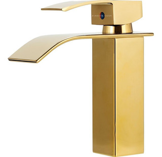 Torneira Cascata Banheiro Misturador Quadrada Dourada Paraná
