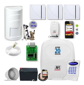 Kit Alarme Jfl Active20 Ethernet Auto Monitorável Smartphone