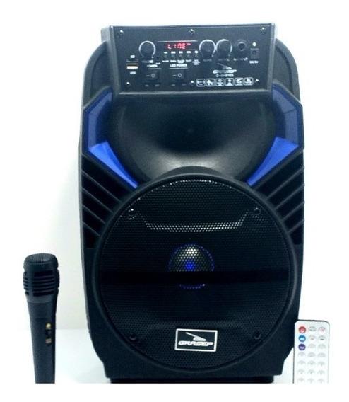 Caixa De Som Amplificada Via Bluetooth Microfone Controle