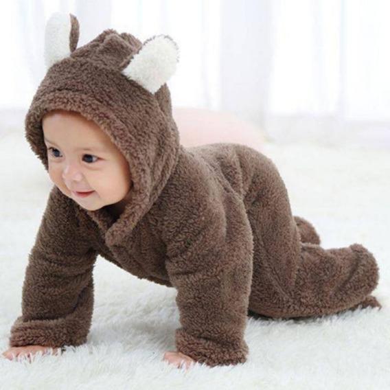 Macacão Bebê Pelúcia Urso Infantil Inverno Pronta Entrega