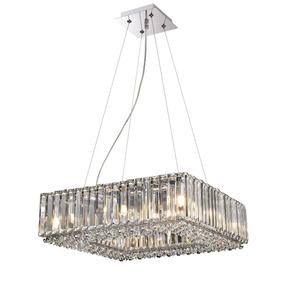 Lustre Pendente De Cristal Quadrado 45x45cm +luz Promoção