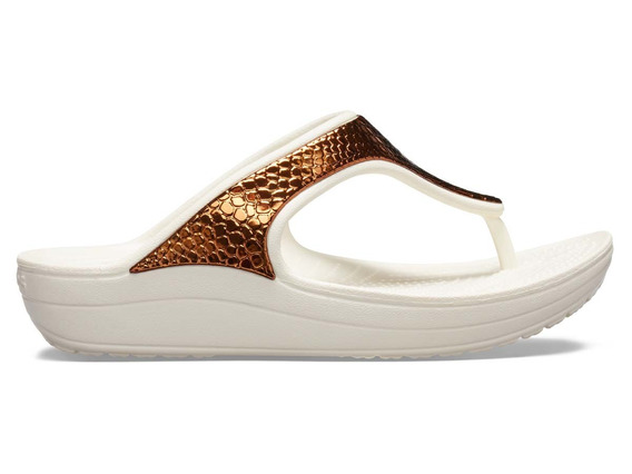 Sandalia Dama Crocs Sloane Flip Metaltxt Bronce