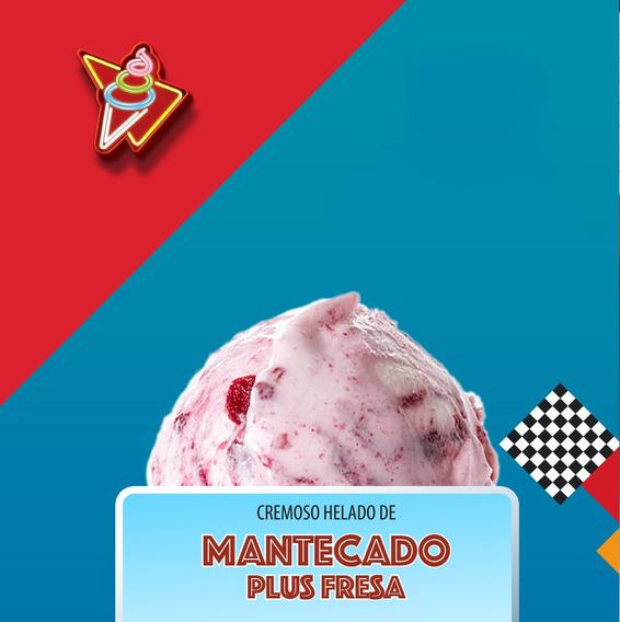 Helado Cremoso De Mantecado, Combinado Con Sirop De Fresa 4