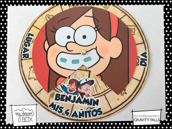 Tarjetas Invitación Circular Evento Gravity Falls Mabel