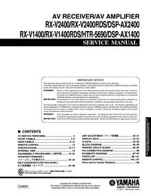 Yamaha Rx-v1400, V1400rds, V2400, V2400rdx Esquema Elétrico