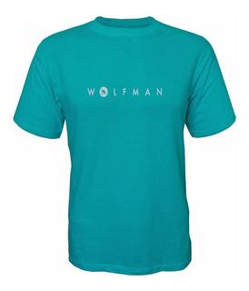 Camiseta Wolfman Lobo Branco Vip Verde Mar / Branco