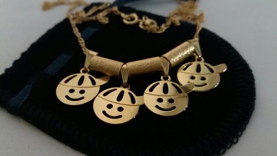 Colar Folheado A Ouro 4 Filhos 12x Sem Juros