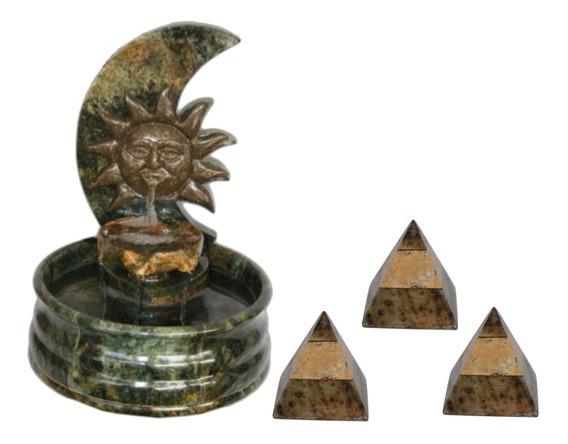 Fonte Decorativa Sol Em Pedra Sabão + Kit Com 03 Piramides