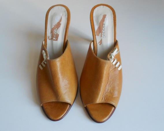 No Envio - Sandalias Blaque Cuero 35 Zapatos Mujer Zpm2018