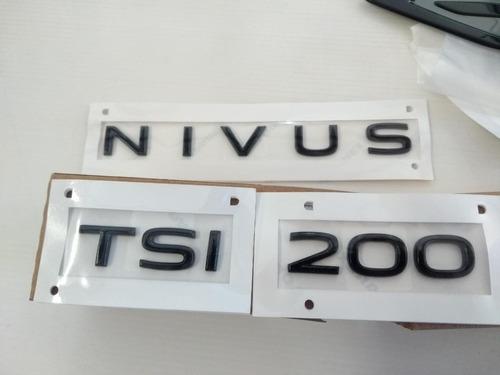 Kit Emblemas Preto Black Vw Nivus Tsi Original Vw