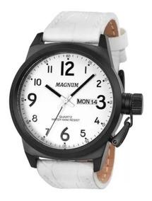 Relógio Masculino Magnum Pulseira Branca De Couro Ma33442b