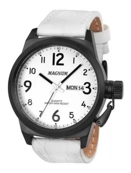 Relógio Masculino Pulseira Branca De Couro Ma33442b - Oferta