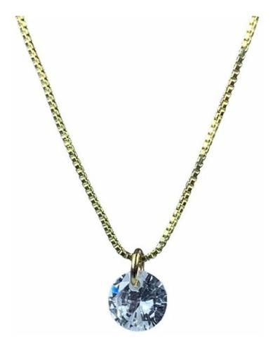 Imagen 1 de 6 de Cadena Baño De Oro Y Dije De Cristal Swarovski Element 40cms