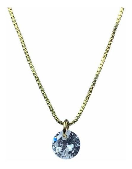 Cadena Baño De Oro Y Dije De Cristal Swarovski Element 40cms