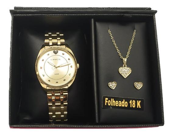 Relógio Lince Com Brinco E Cordão Lrgh075l Kv20 Original