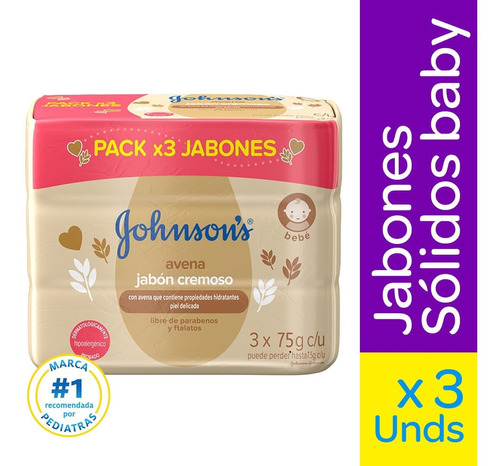 Jabon Johnsons Baby Avena X 110g X 3und