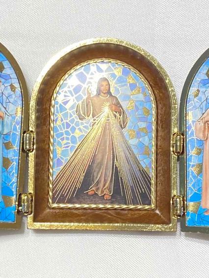 Cuadro Jesus Misericordioso Triptico Con Angeles Fars (italy