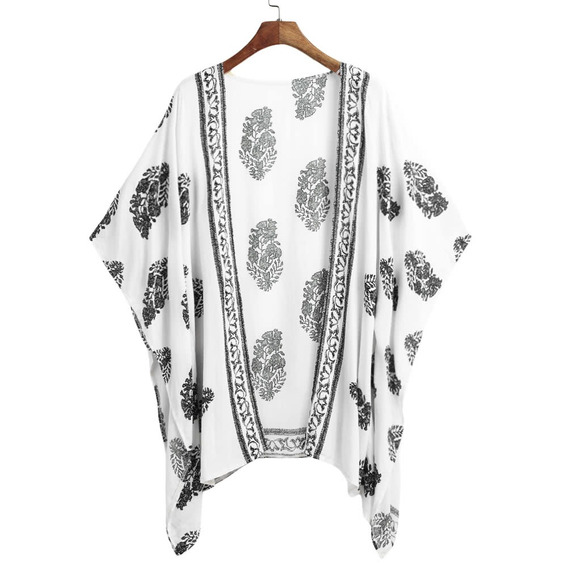 Kimono De Playa Manga 3/4 Estampado Blanco Para Mujer