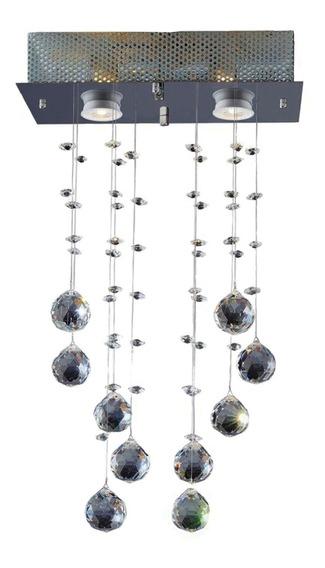 Lustre Cristal Vidro Pendente Aço Inox Lâmpadas Halógenas