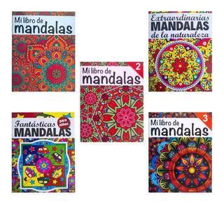 5 Libro Mandalas Iluminar Colorear Animales Niños Naturaleza