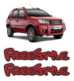 Par Emblemas Adesivo Ecosport Freestyle Vermelho Resinado