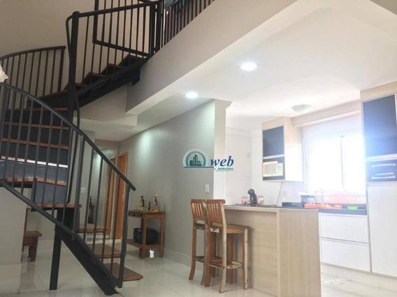 Cobertura Duplex Com 3 Dormitórios À Venda, 170 M² Por R$ 800.000 (aceita Permuta Por Cobertura Menor Valor) - Campestre - Santo André/sp - Co0988