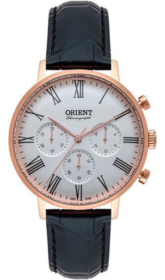 Relógio Masculino Rose Orient Cronógrafo Pulseira Couro + Nf
