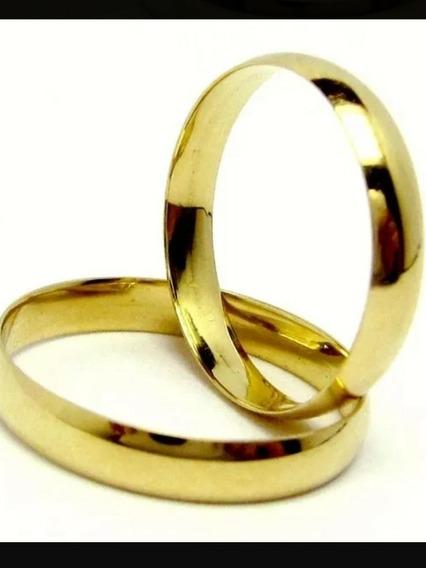 Par Aliança De Casamento Ouro 18k 750 E 3 Gramas