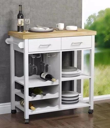 Imagen 1 de 5 de Mesa Carrito Auxiliar Para Cocina 2 Modulos Con Bambu