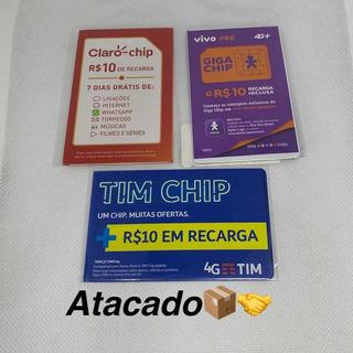 Kit 6 Chips Tim Claro Vivo +10 De Recarga Ddd Livre Frete 12
