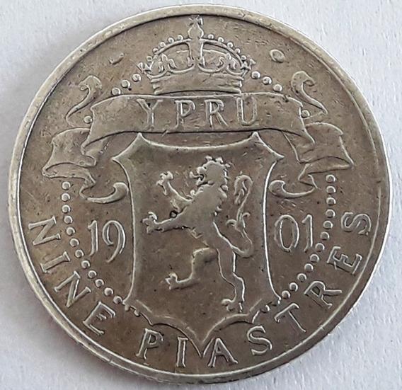 Chipre Moneda De Plata 9 Piastres Año 1901 Km #6 Muy Buena