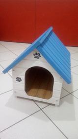 Casinha De Madeira Para Cachorro Pequena Azul E Branca