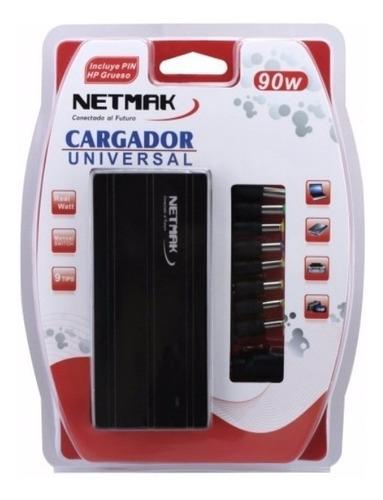 Imagen 1 de 7 de Cargador De Notebook Universal 90w Netmak Nm-1187 Tienda