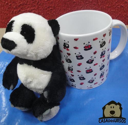 Imagem 1 de 8 de Caneca Romântica Cute De Porcelana 330ml + Urso Panda 15cm