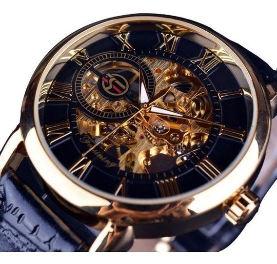 Relógio Mecânico Forsining Skeleton Dourado Frete Grátis