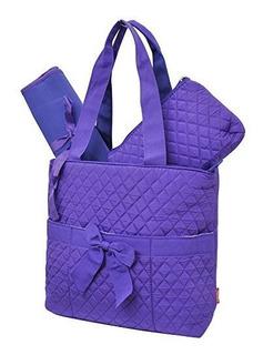 Purpura Solido Impresion Ngil Acolchado 3pc Bolso Cambiador