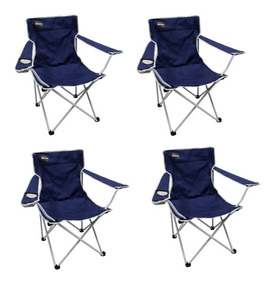 Cadeira Dobrável Alvorada Camping Pesca Nautika Azul 4 Unida