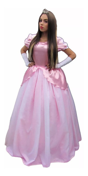 Vestido Da Princesa Ariel Rosa Longo Adulto Luxo Com Luva