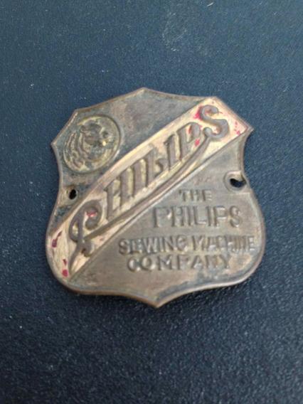 Antiga Plaqueta Máquina De Costura Philips Original