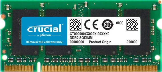 Crucial 2gb Single Ddr2 800mhz (pc2-6400) Cl6 Sodimm 200-pin