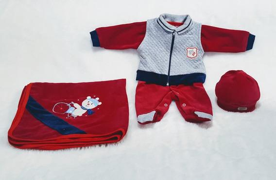 Kit Saída De Maternidade Menino Vermelha Com Colete