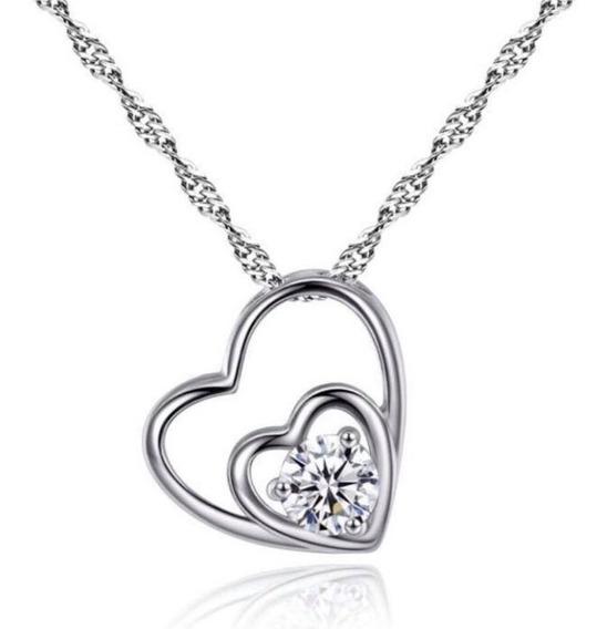 Cadena Y Dije Plata .925 Corazón Zirconia Mujer Joyería Moda