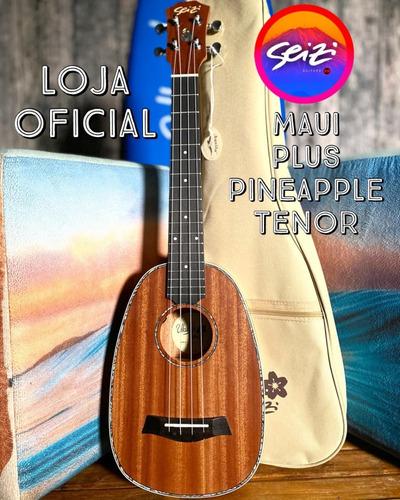 Ukulele Seizi Maui Plus Pineapple Tenor Elétr. Sapele Bag