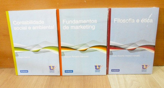 Kit 03 Livros Unopar Contabilidade, Marketing E Filosofia