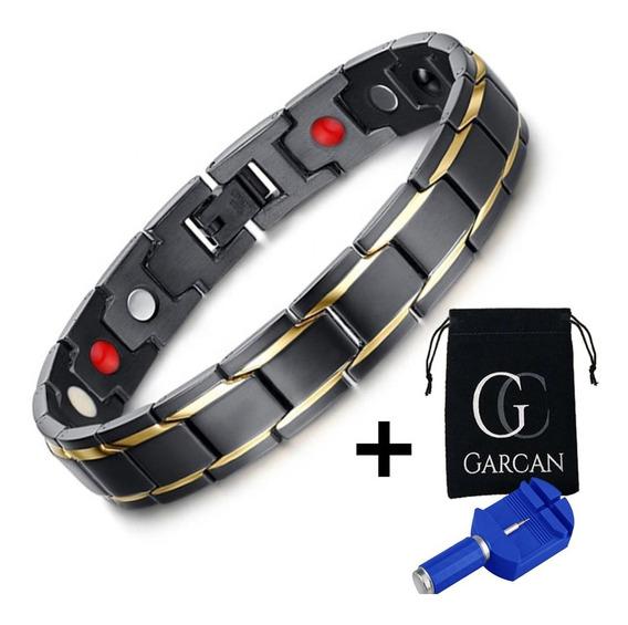 Paquete De 2 Brazaletes Magneticos Acero Inoxidable Colores A Elegir + Ajustadores De Largo