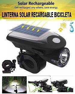 Linterna Solar Luz Led Recargable Para Bicicleta