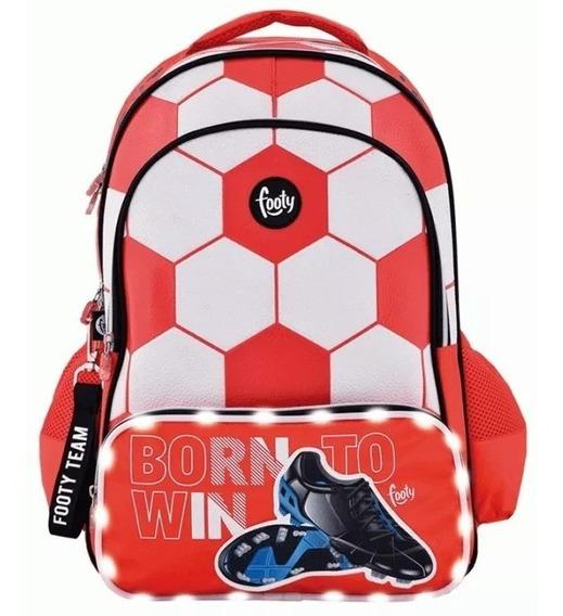 Mochila Footy Espalda Grande Niños Futbol Rojo Con Luz Fty