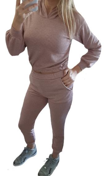 Conjunto Lanilla Liviana Mujer Pantalón Jogger Buzito Capuch